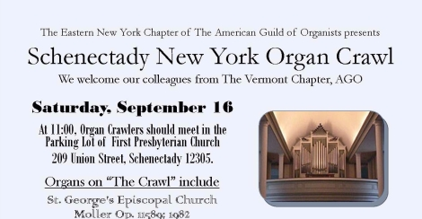 Schenectady New York Organ Crawl banner